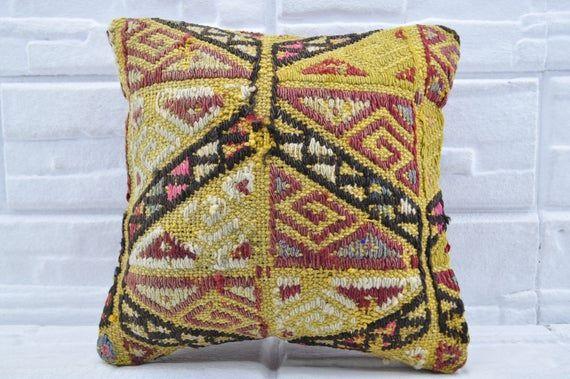 """14""""x14"""" embroidery kilim pillow turkish kilim pillow vintage kilim pillow sofa pillow anatolian kili"""