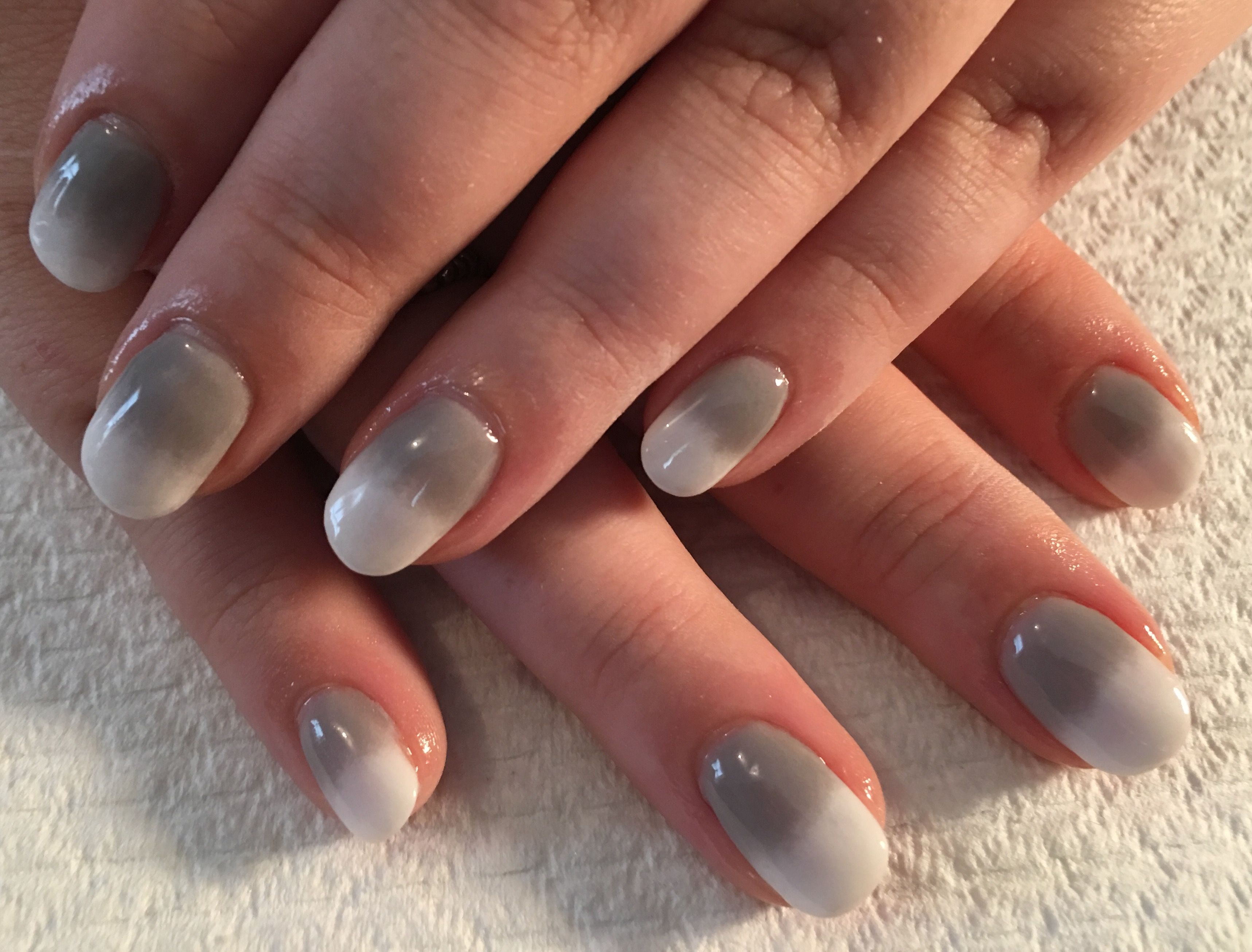 sns grey and white ombre over natural nails. | sns nails