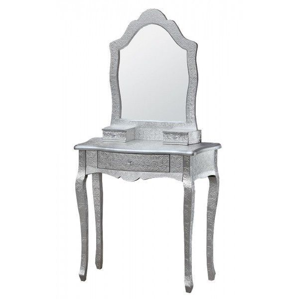 Details About Embossed Metal Furniture Silver Shabby Chic Dressing Table  Mirror Combo