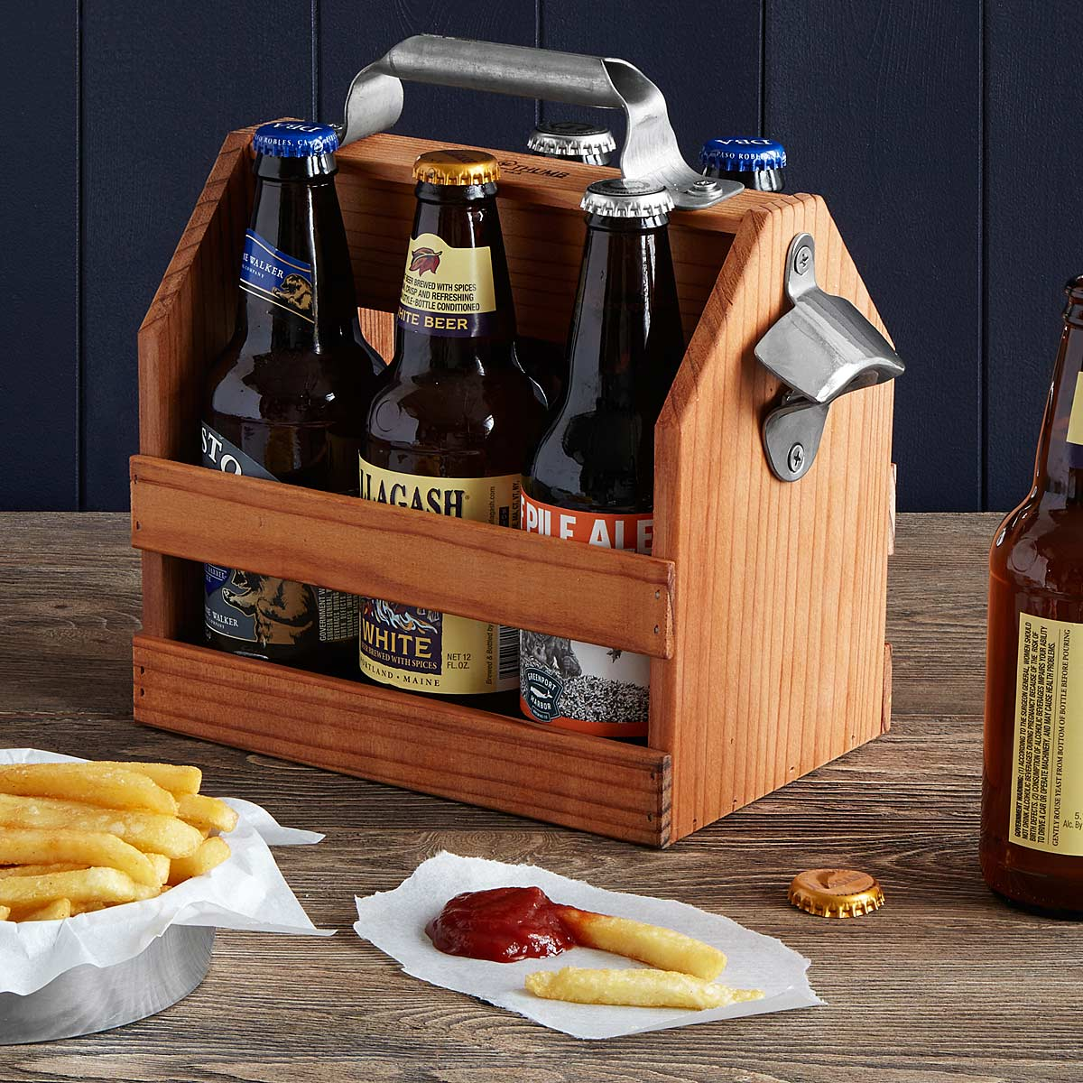 This wood six pack is handcrafted by brothers David and Christopher Steinrueck out of redwood beams reclaimed from salvage yards in the San Francisco area.