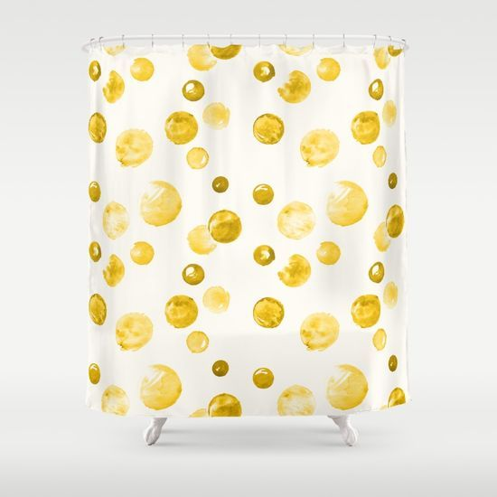 Yellow Watercolors Polka Dots Shower Curtain | Accessories and decor ...