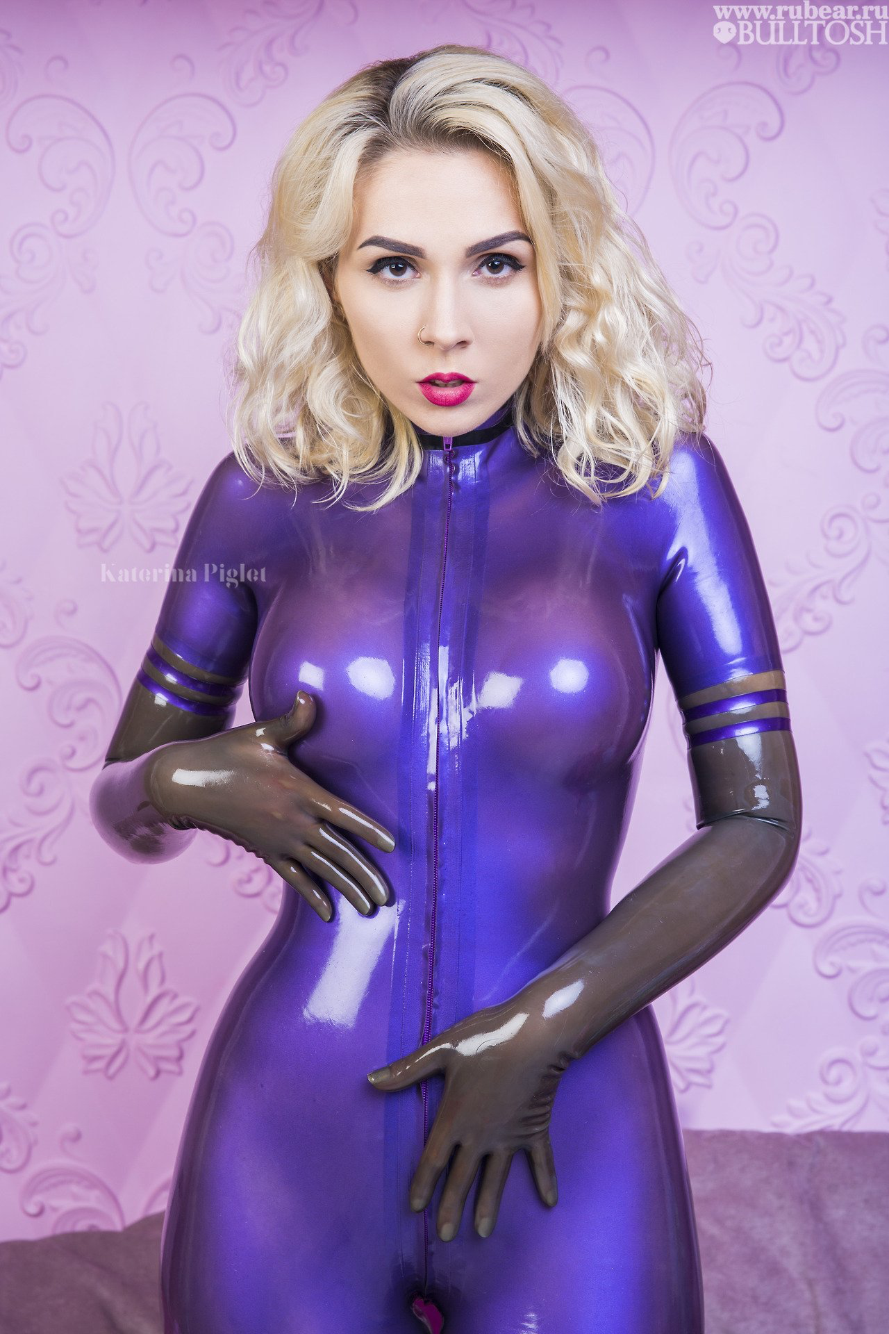 9698512428 Katerina Piglet transparent purple latex catsuit. Katerina Piglet  transparent purple latex catsuit Latex Leotard