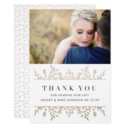 Elegant Rose Gold Photo Wedding Thank You Card Elegant Wedding