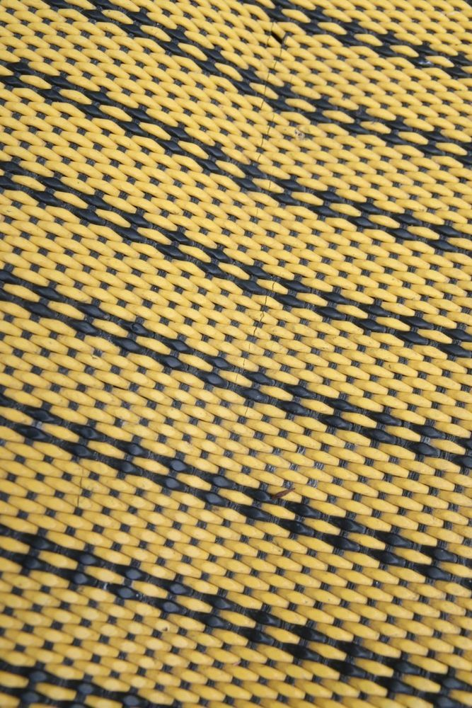 Vintage 60s 70s Woven Plastic Rug Mat Yellow Black Kitchen Camper Dandycord