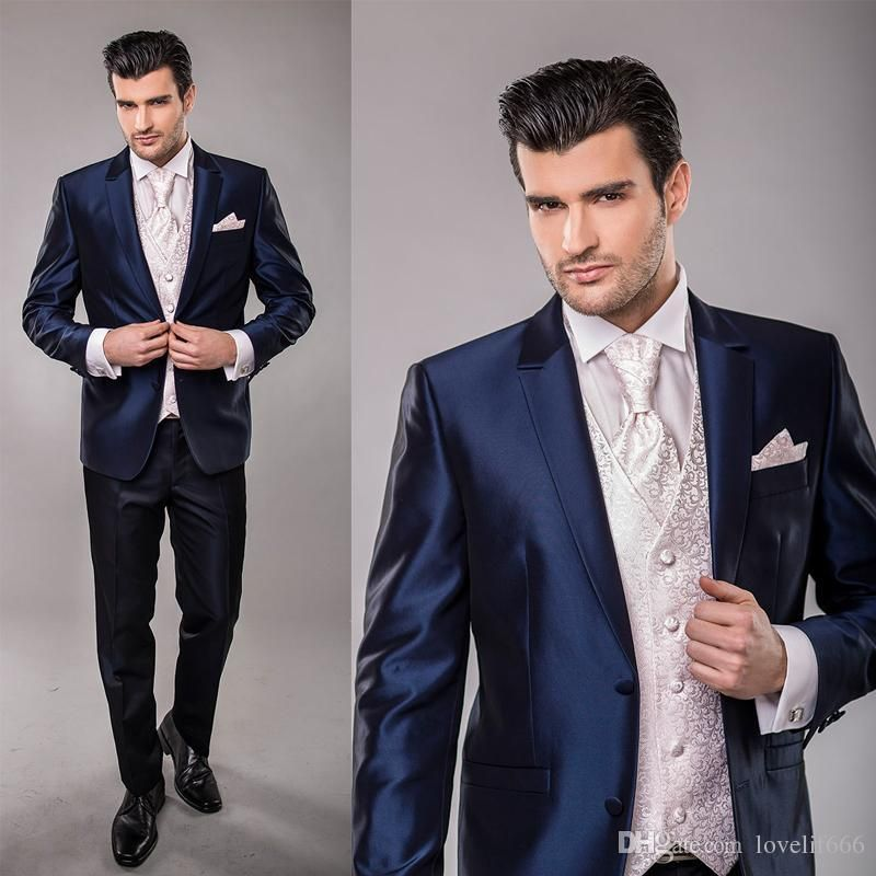 New Italian Brand Men Suit Business Custom Made Navy Blue Formal ...