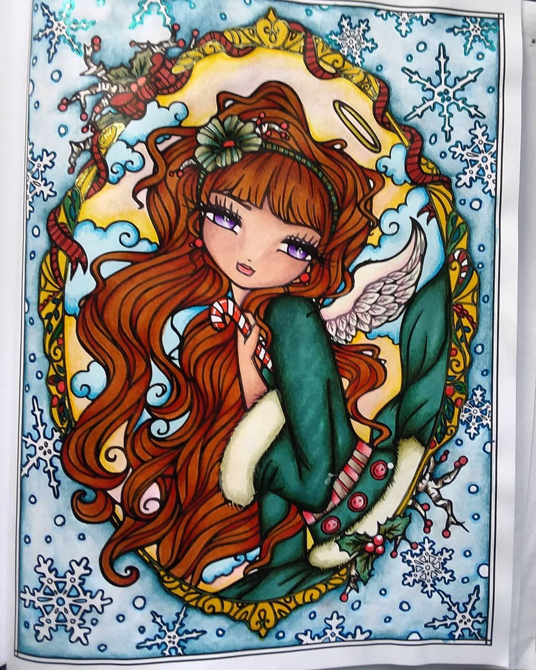 Candy Cane Angel from A Whimsy Girls Christmas coloring