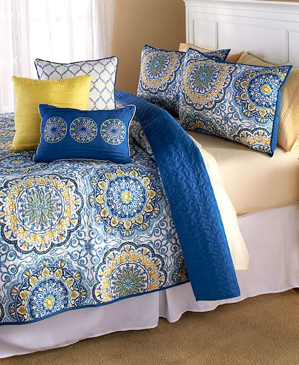 6 Pc Quilt Sets Bed Linens Luxury Yellow Bedding Blue And