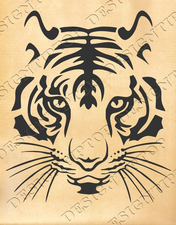 Tiger SVG, head of a tiger, svg, dxf, eps, png, print and cut file ...