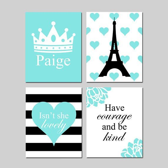 Paris Bedroom Art, Paris Room Decor, Eiffel Tower Art, Heart Room Decor, Crown Print, Have Courage and Be Kind, Set of 4 PRINTS OR CANVAS#art #bedroom #canvas #courage #crown #decor #eiffel #heart #kind #paris #print #prints #room #set #tower