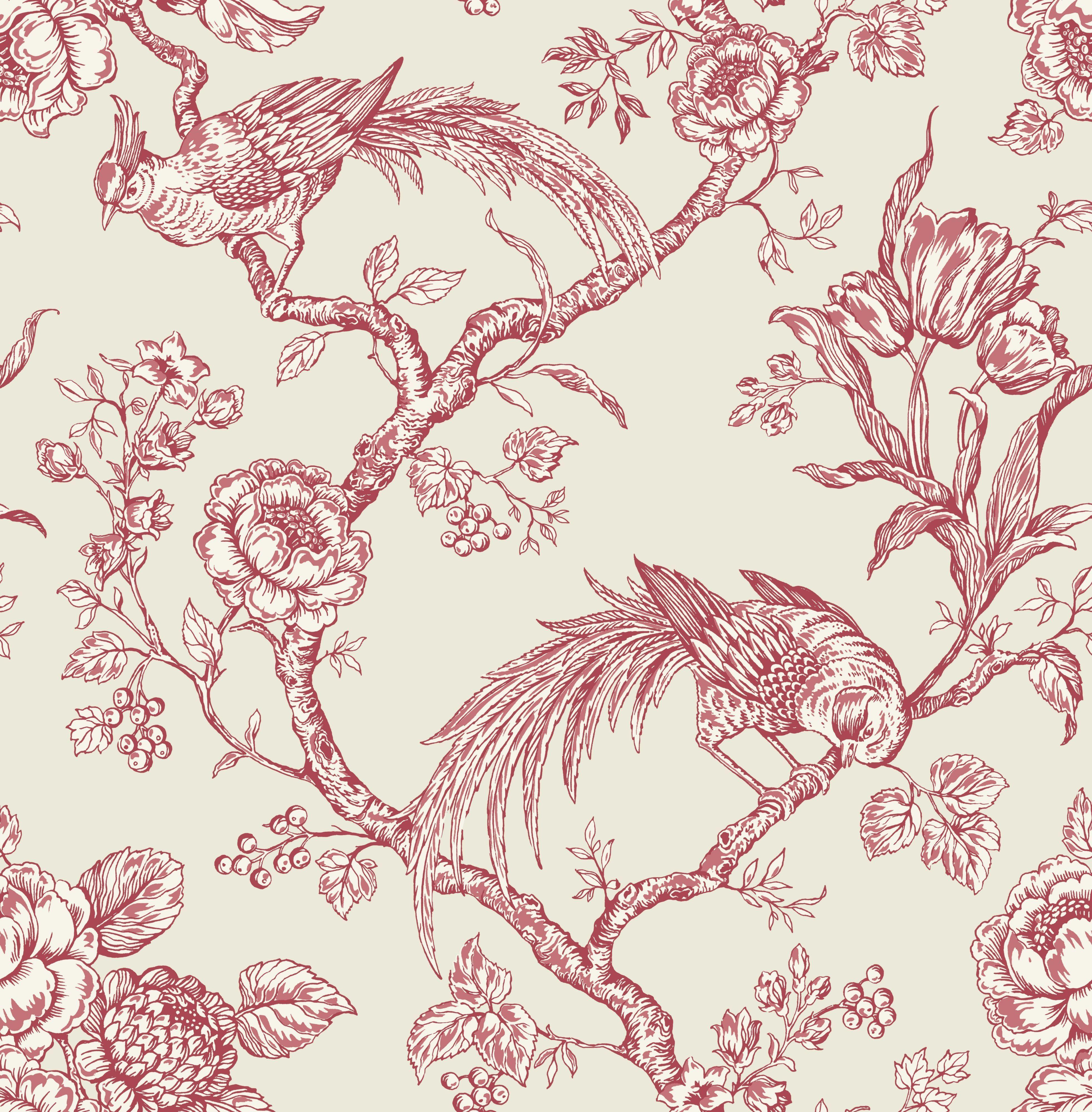 Bird Toile Cream   Red Wallpaper   Departments   DIY at B Q. Bird Toile Cream   Red Wallpaper   Departments   DIY at B Q