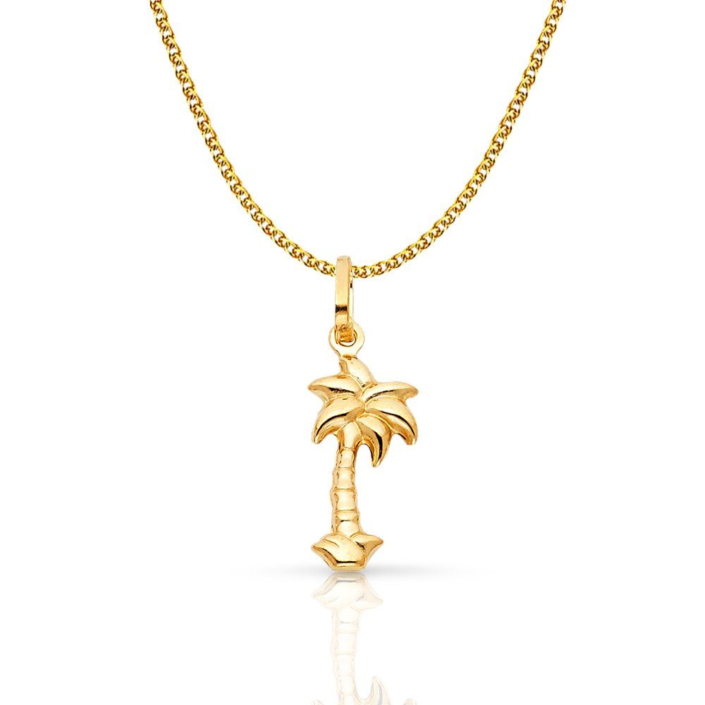 44a8581aa1d 14K Yellow Gold Palm Tree Charm Pendant with 1.2mm Flat Open Wheat Chain  Necklace