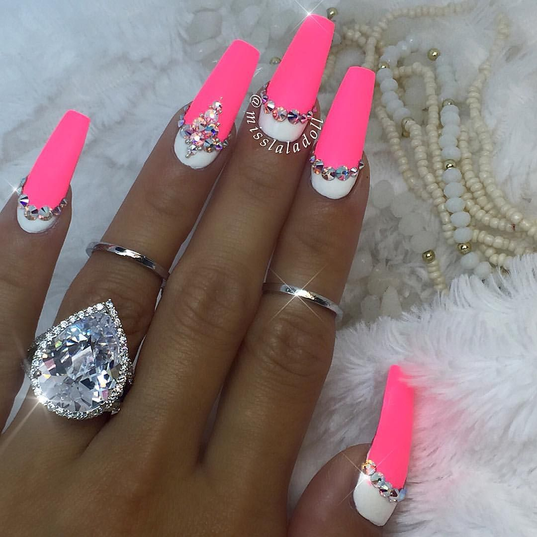 White And Matte Neon Pink Coffin Nails With Images Pink Nails