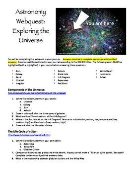 Components Of The Universe Webquest Webquest Universe Education