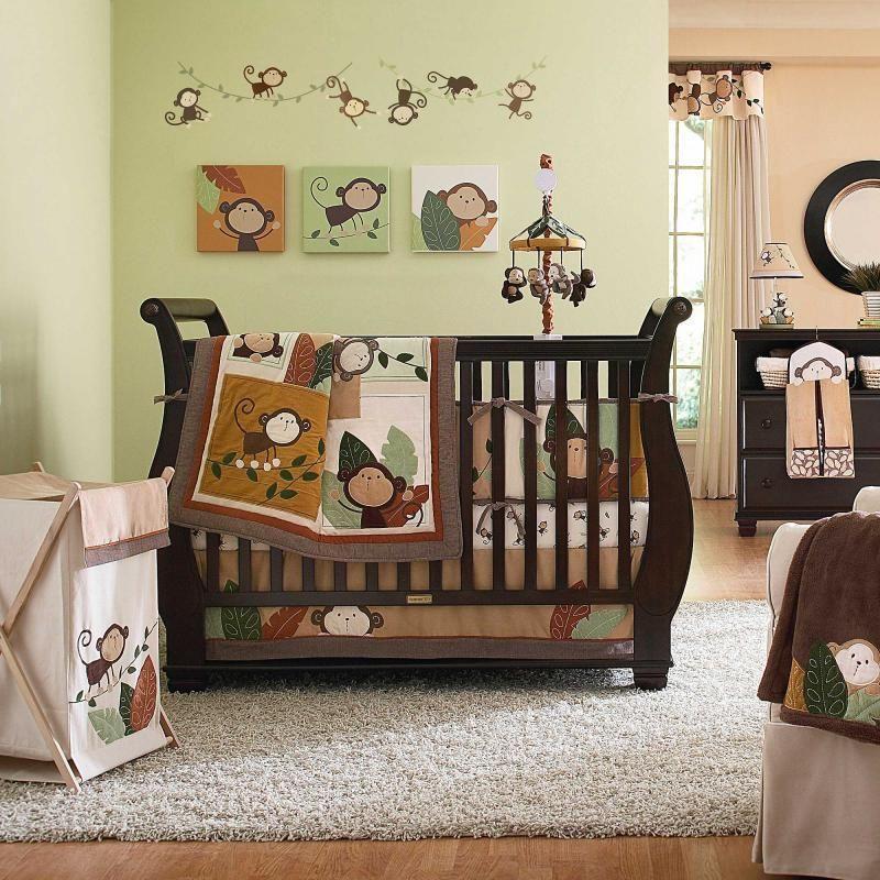 Cribs Neutral Monkey Jungle Tree Baby Crib Bedding Set