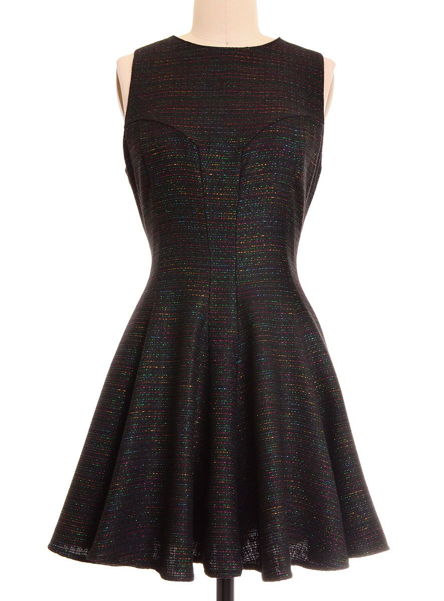 Sparkling Black Rainbow Flared Dress at ShopPlasticland.com