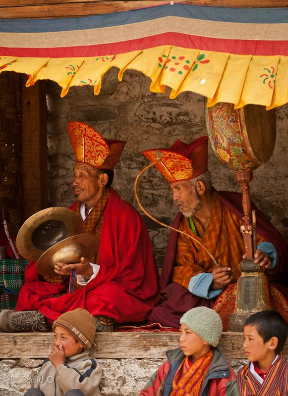 Festival musicians, central Bhutan by David Kuenley