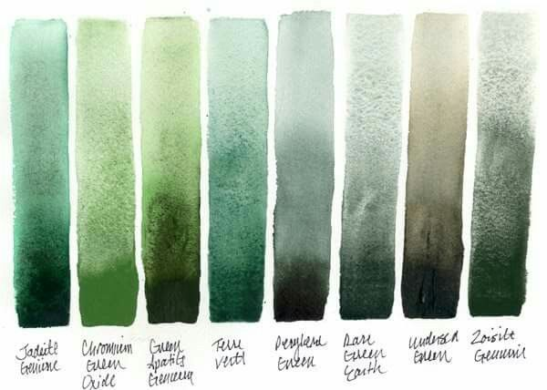 Rare Green Earth Similar Granulating Green Watercolor Palette