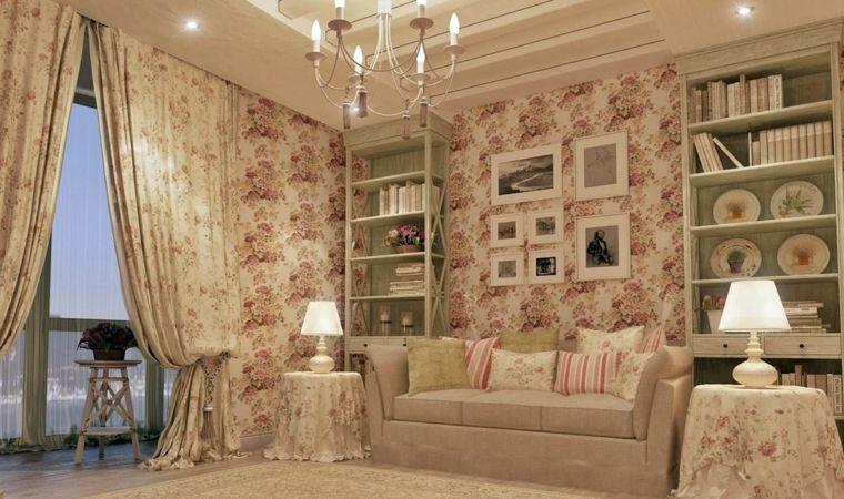 Arredamento shabby chic per un soggiorno grande con divano e tante ...
