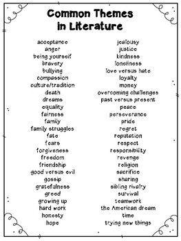 theme words list literature