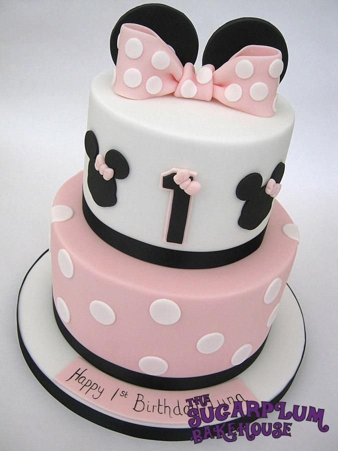 Simple Minnie Mouse 2 Tier Birthday Cake Minnie mouse cake