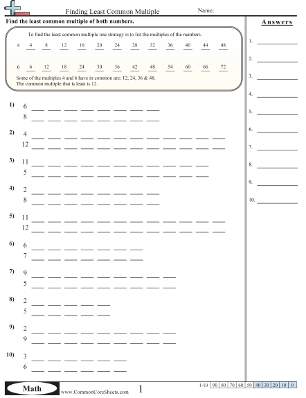 Multiplication Worksheets Finding Least Common Multiple Worksheet Common Multiples Least Common Multiple Least Common Denominator