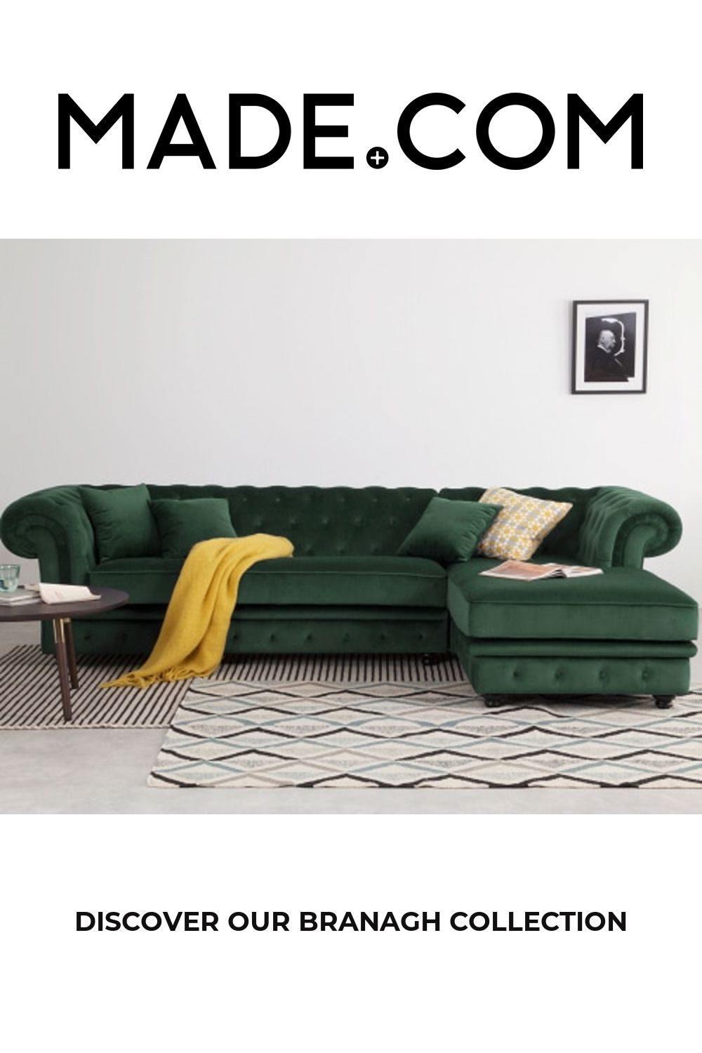Branagh Right Hand Facing Chaise End Corner Sofa Pine Green Velvet In 2020 Velvet Corner Sofa Corner Sofa Sofa