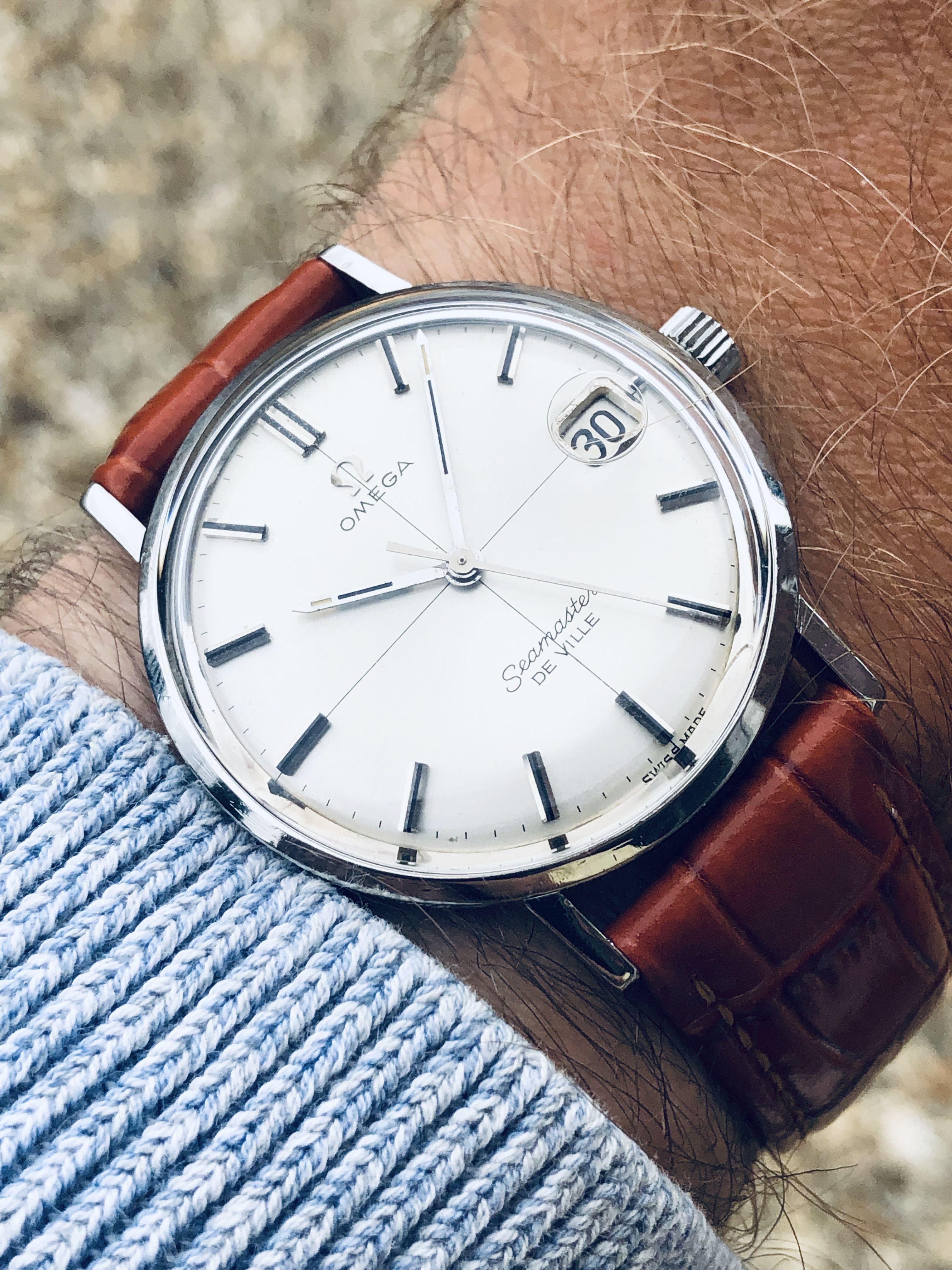 Photo of Omega Seamaster De Ville Crosshair mechanical date men's vintage watch bordeaux red strap