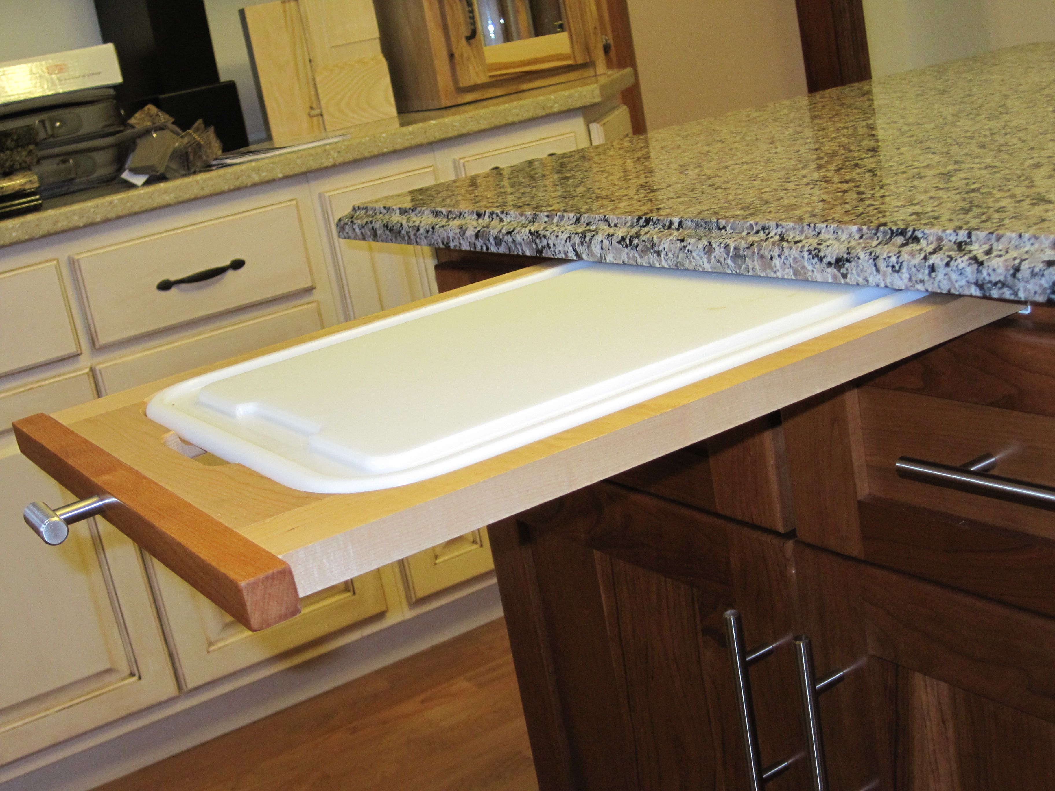 how to install a pull out cutting board in kitchen cabinet