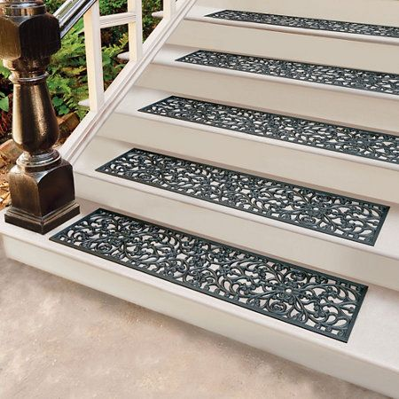 Windsor Scroll Black Rubber Stair Treads Door Mat From   Exterior Rubber Stair Treads   Solid Weathered   Luxury Vinyl Stair   14 Inch Deep   Vinyl Covered   Pattern