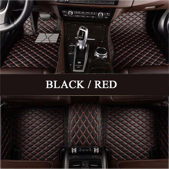 Luxury Diamond Stitched Floor Mats Black With Red