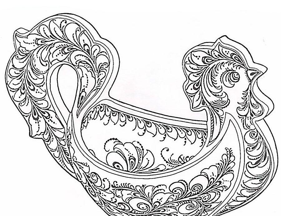 раскраска хохлома хохлома раскраски и птицы