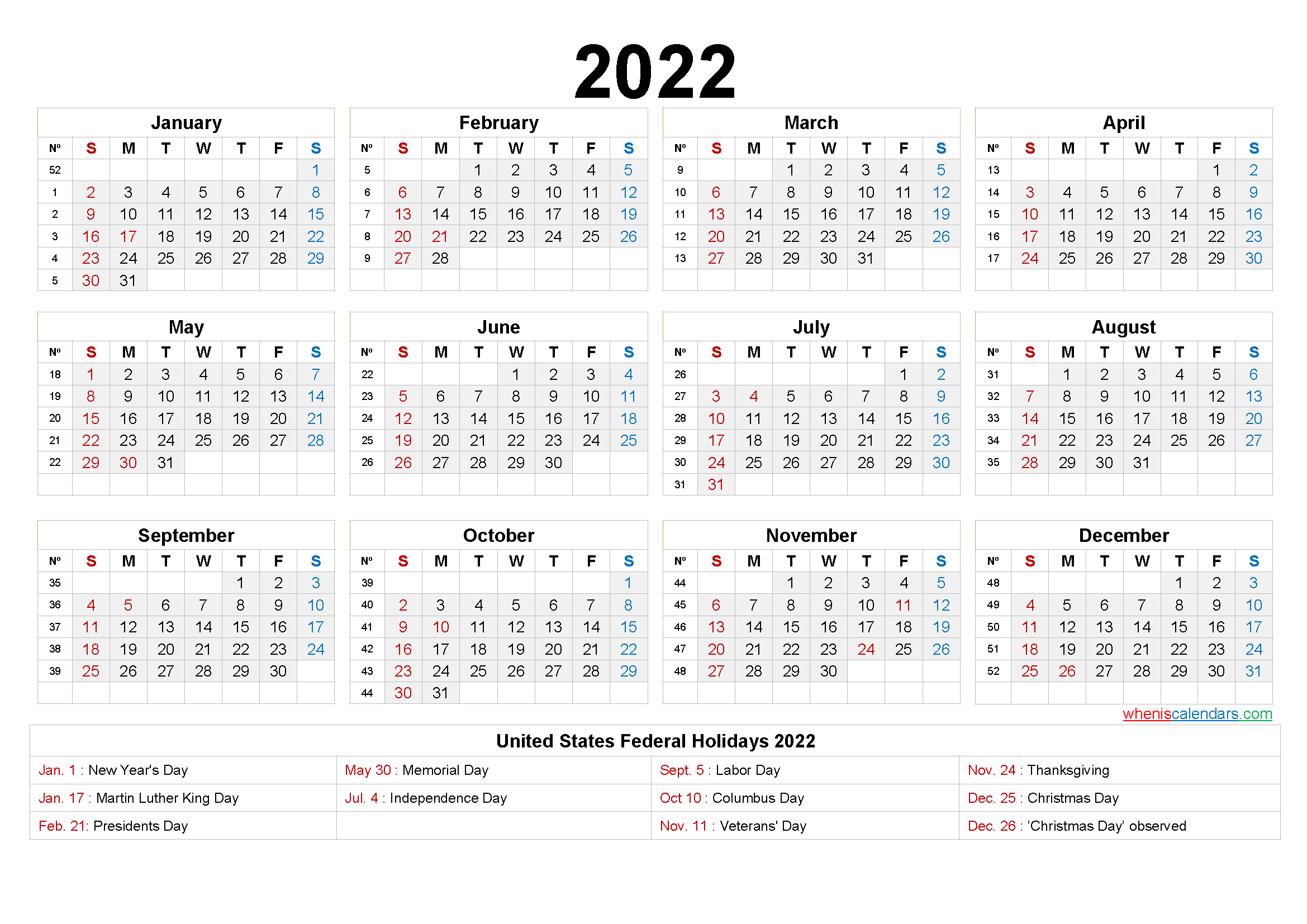 Year 2022 printable yearly and monthly calendars with holidays and observances. 20+ Yearly Calendar 2022 - Free Download Printable ...