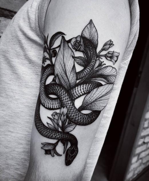 e64e79c4868f5 Snake With Flowers Tattoo | Arm Tattoo | Snake tattoo, Sleeve ...