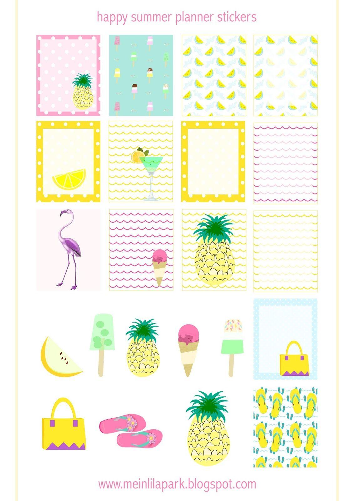Free Printable Summer Planner Stickers Ausdruckbare Etiketten