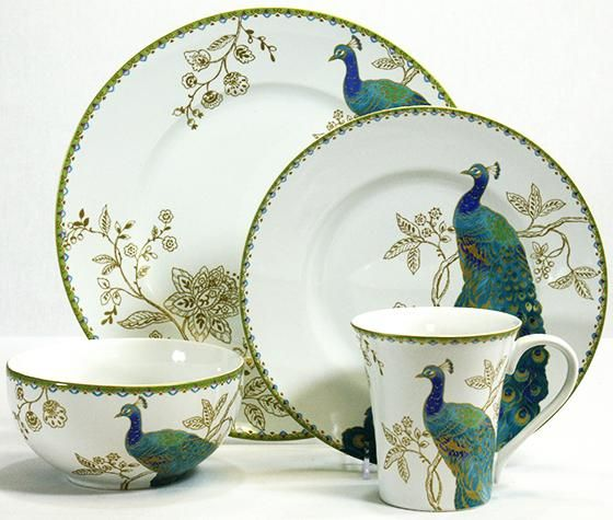 Peacock Garden 16-Piece Dinnerware Set - Porcelain ...