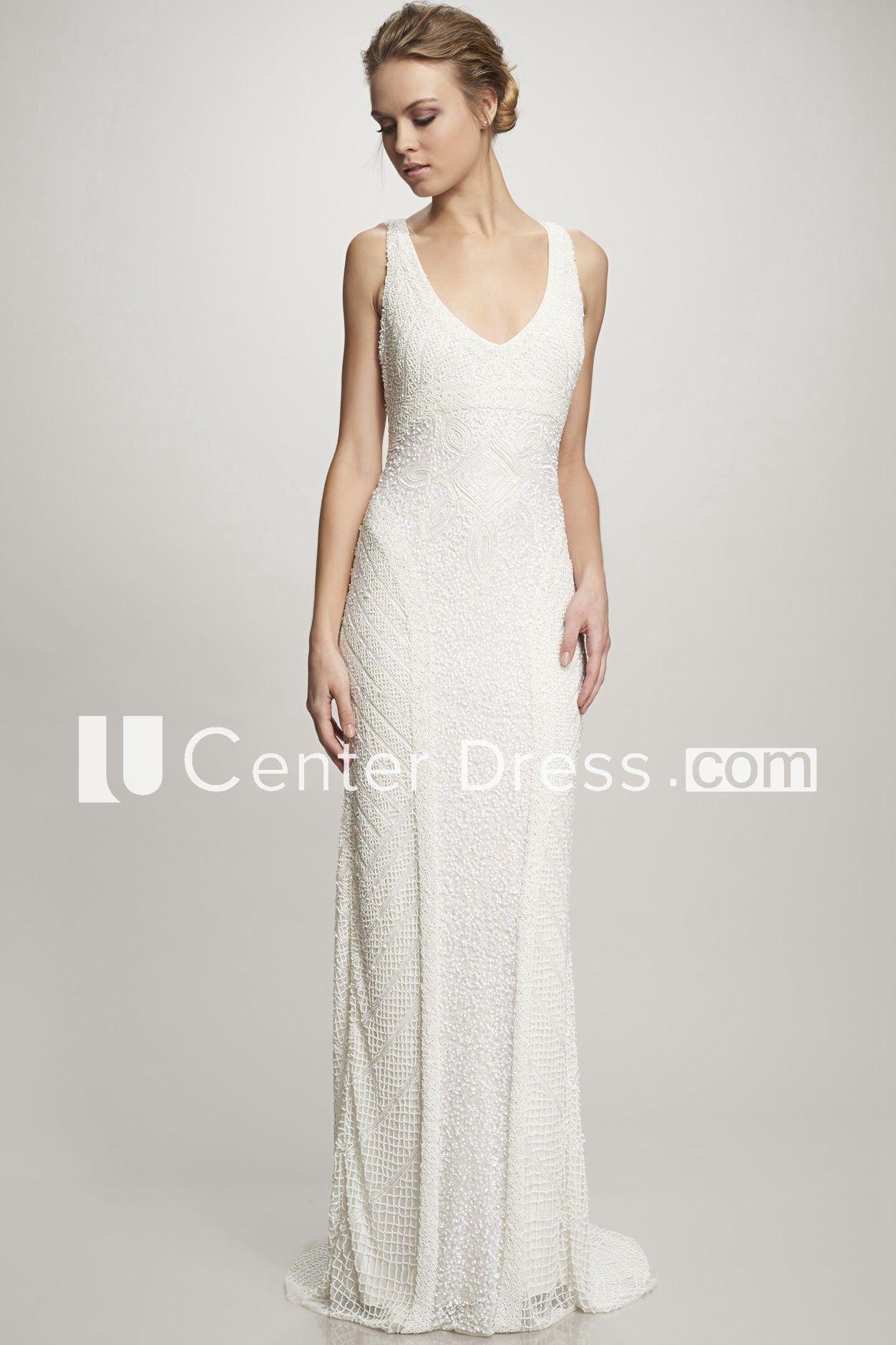 Long vneck wedding dress with sweep train and v back wedding