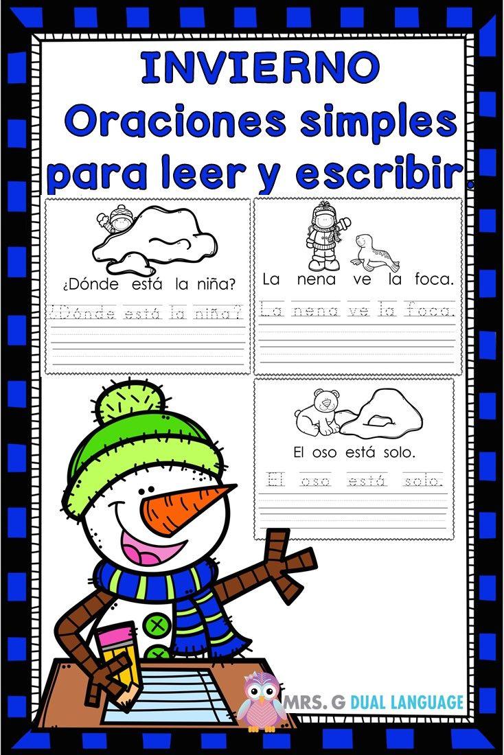 Invierno: Oraciones simples con palabras de uso frecuente ...