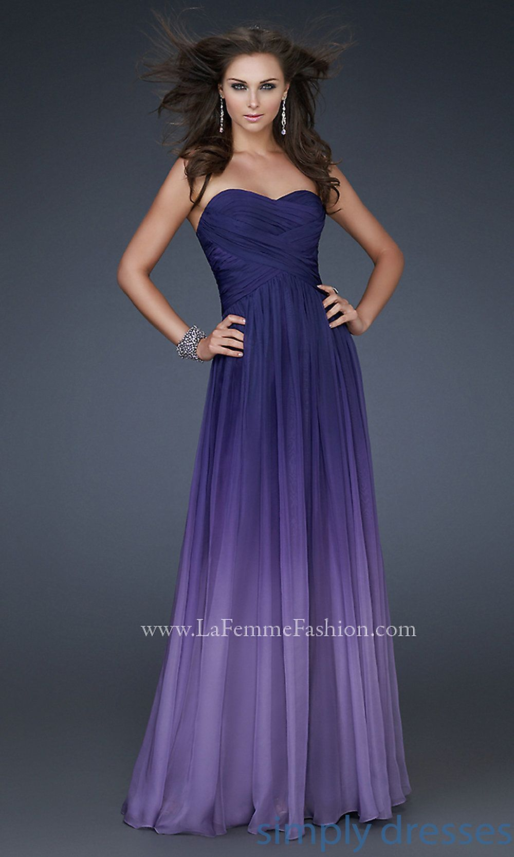 Long Strapless Ombre Gown by La Femme 17004. Description from ...