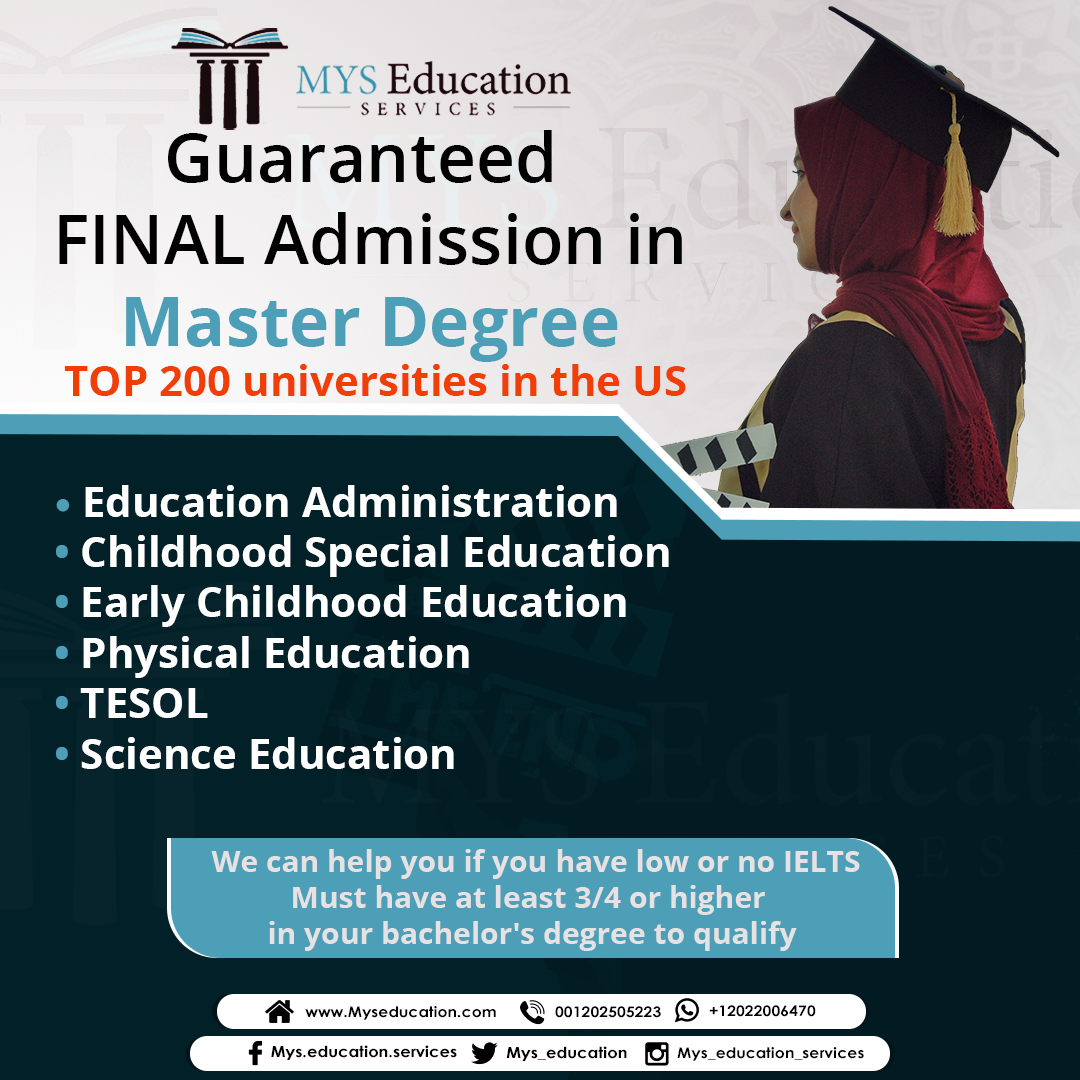 Masters Admissions For Education Guaranteed Final Admission To Top