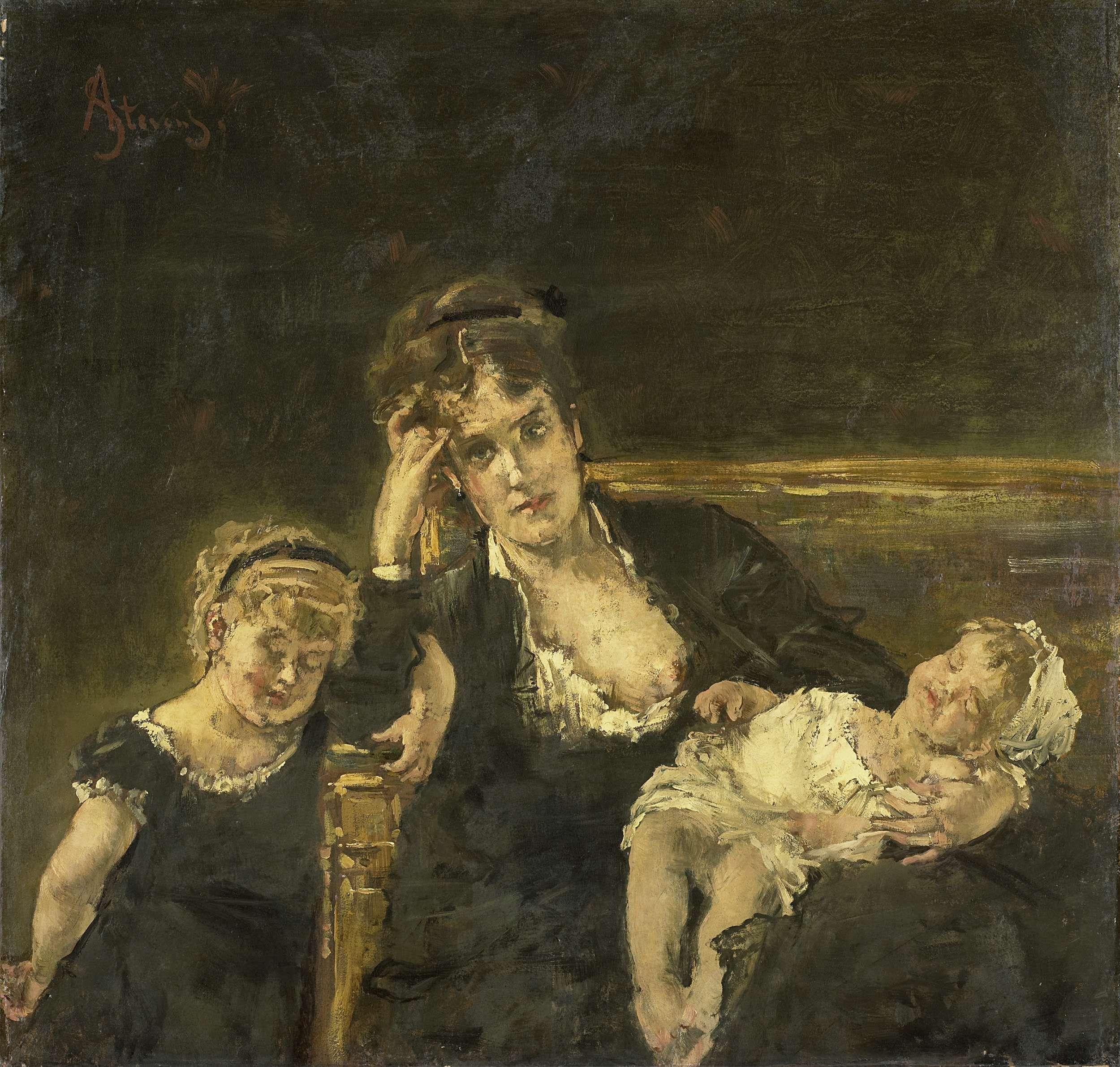 Alfred Stevens | De weduwe, Alfred Stevens, 1850 - 1906 | De weduwe. Een jonge moeder zittend op een sofa met een kind op schoot, links leunt een meisje tegen haar aan.