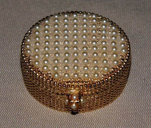 "Vintage Golden Woods Clustered Pearling Creme Perfume Compact by Max Factor, Approximately 1-1/4"" in Diameter."