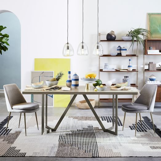 West Elm Tower Dining Table Concrete Kelly Alex Soho
