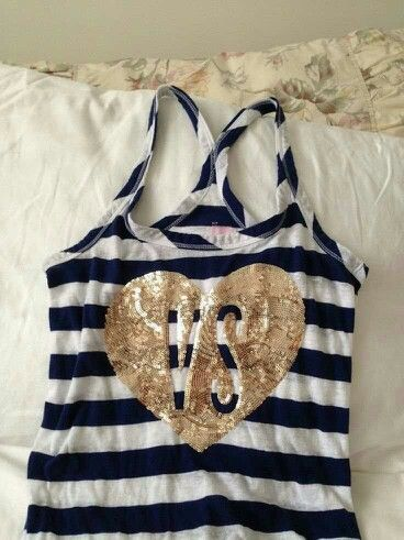 VS - Victoria's Secret tank top   Navy blue and white striped with gold glittered heart