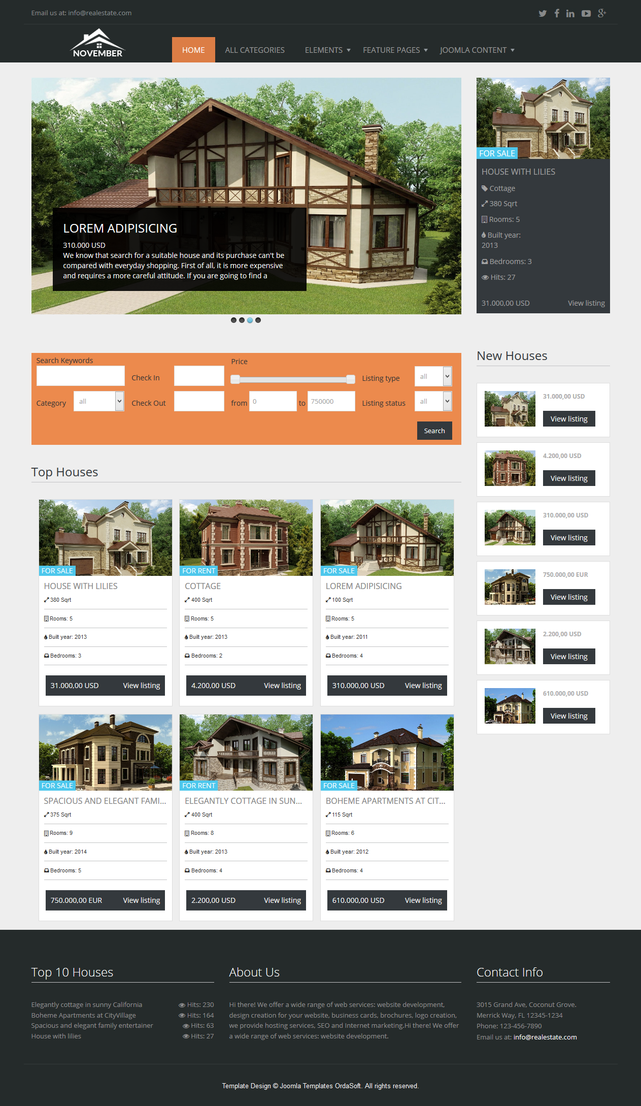 Free joomla 1. 5. X templates: real estate by themza.