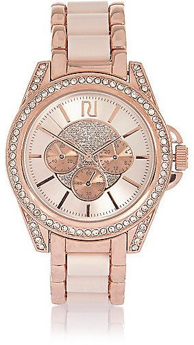 River Island Womens Rose gold chunky embellished watch