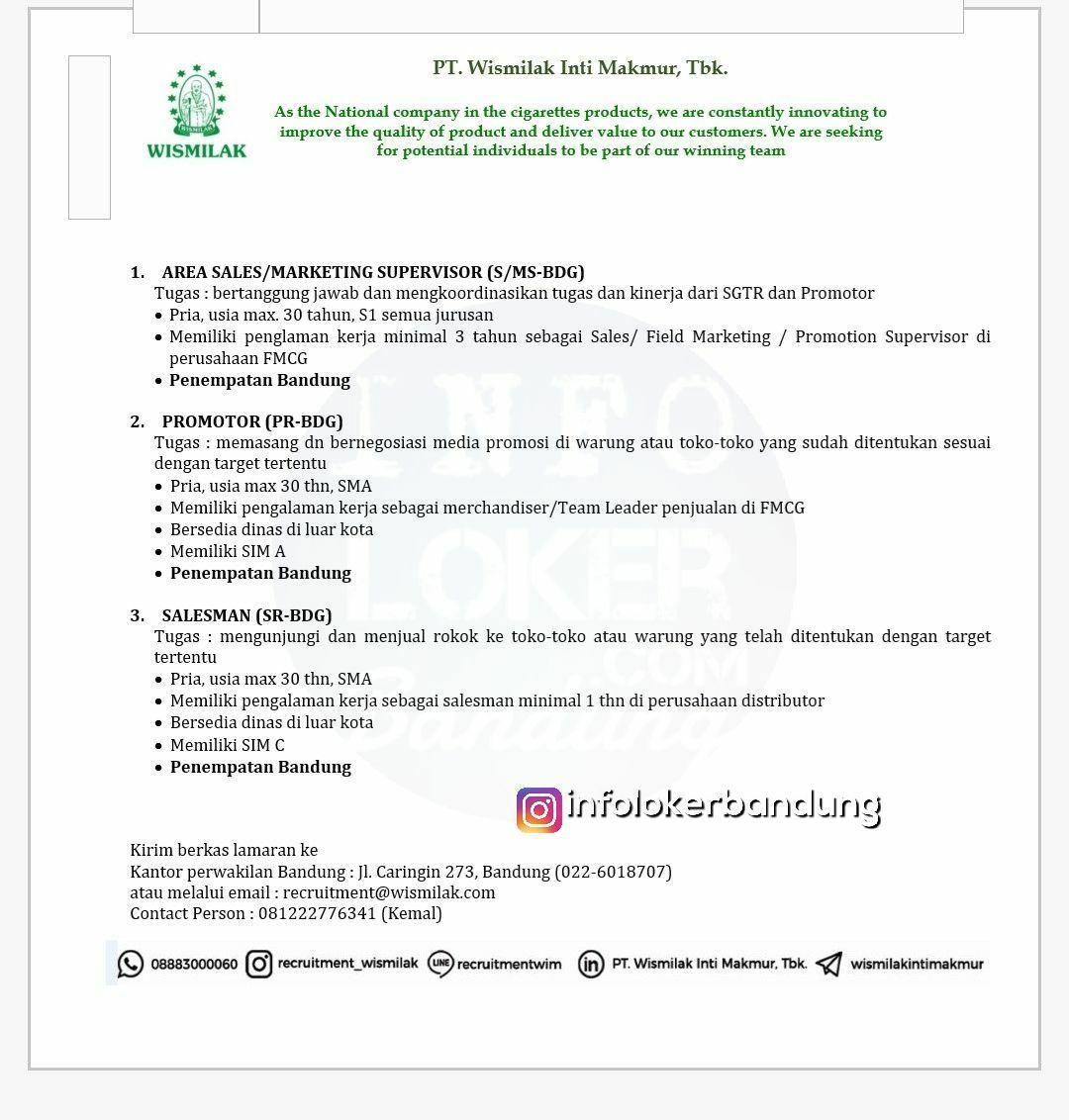 Lowongan Kerja Pt Wismilak Inti Makmur Tbk Bandung Maret 2018