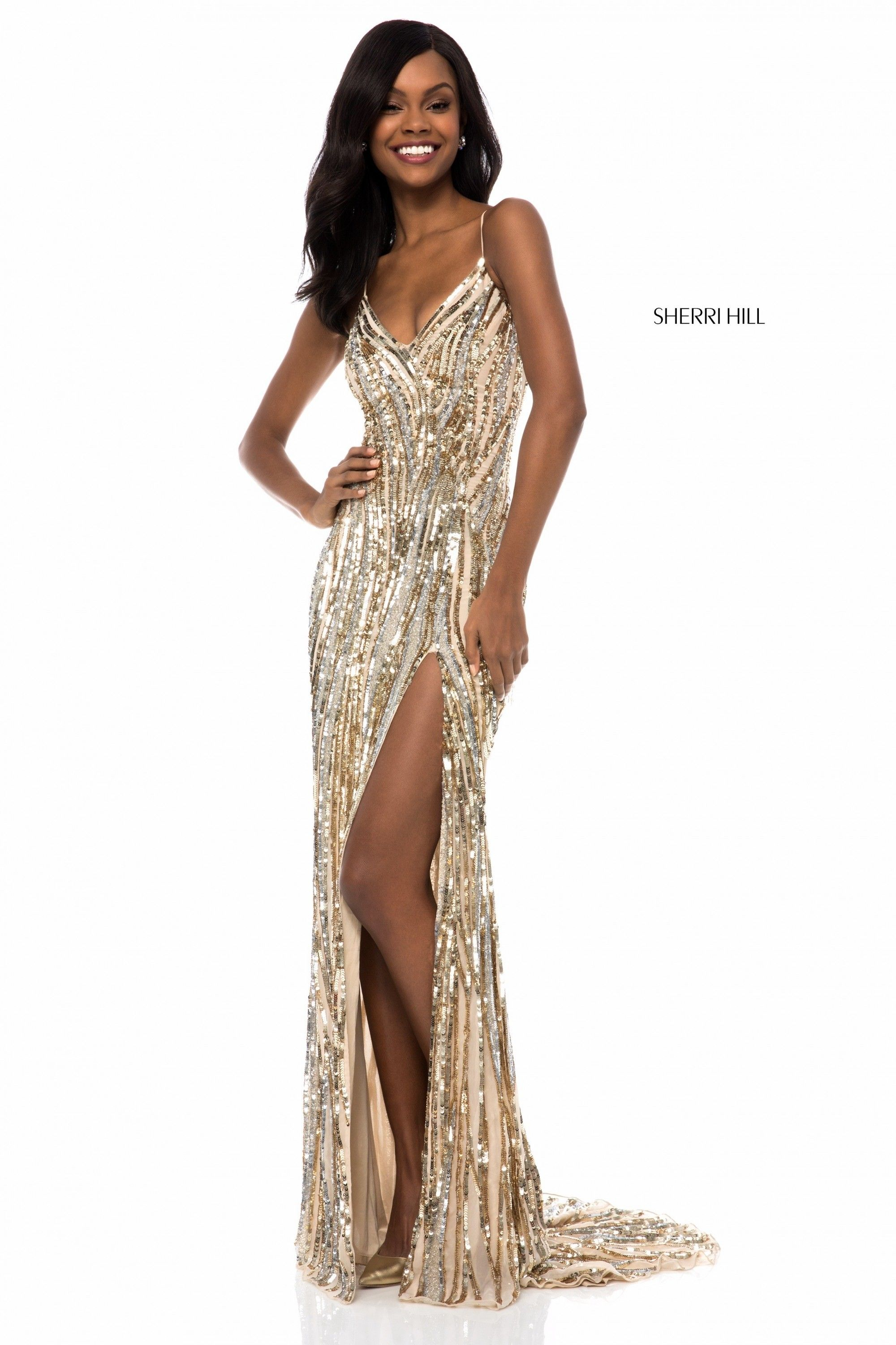 26b2f6e909b3 Go wild for Sherri Hill 51743. This sultry beaded gown features lively  sequin stripes. The bodice has a V-neckline, and spaghetti straps, which  criss-cross ...