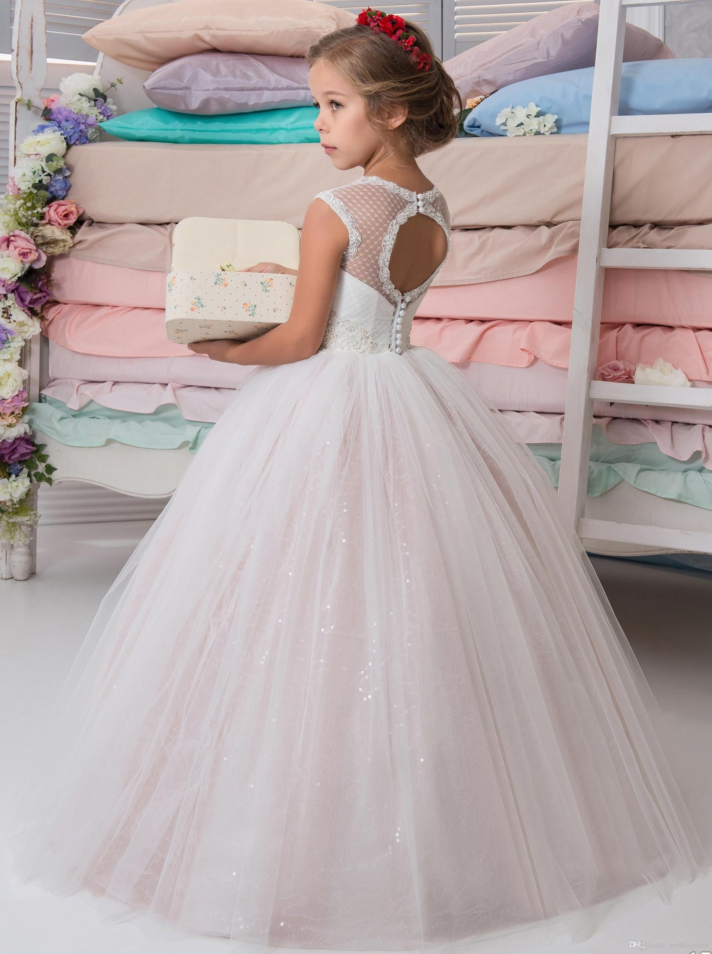 Pink sparkly wedding dresses  Sparkly Lace Beaded Arabic  Flower Girl Dresses Crew Ball Gown