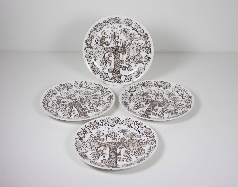 Set of vintage dinner plates eros by stig lindberg for gustavsberg