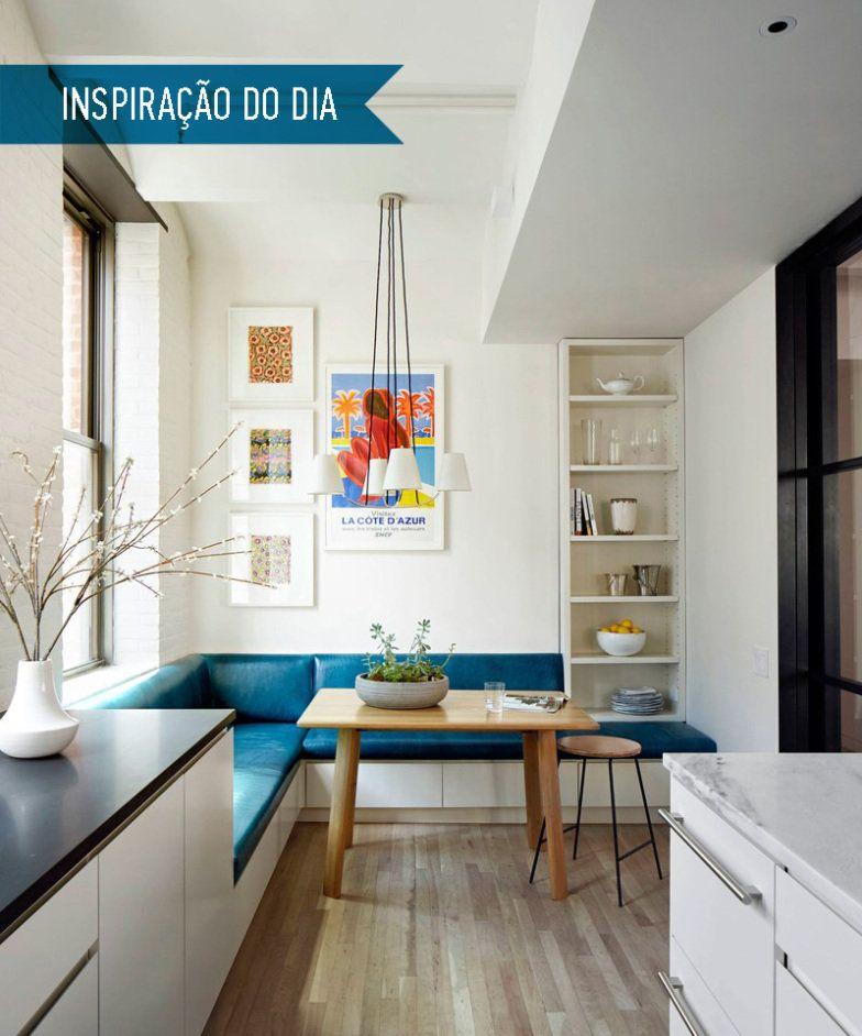 Inspira o do dia cozinha branca com banco de canto azul for Decoracion petrole azul